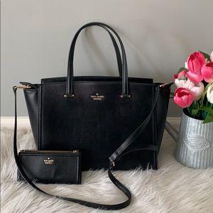 Kate spade black pebbled leather bag set
